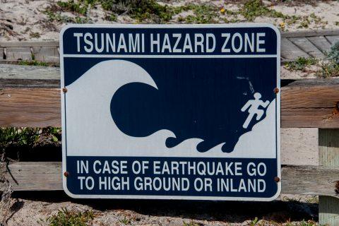 Tsunami sign, Spanish Bay, Monterey, California