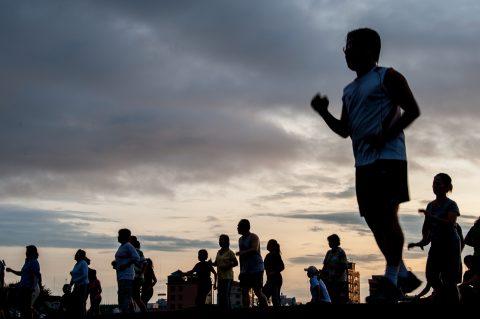 Sunrise exercise, Olympic Stadium, Phnom Penh