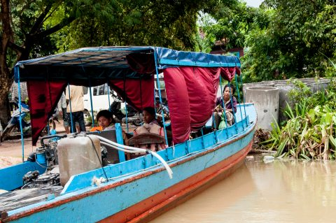 Embarkning on Tonle Sap Lake, near Siem Reap