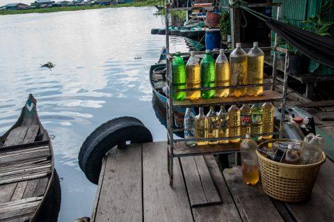 Petrol for sale, floating village, Tonle Sap Lake, near Siem Rea