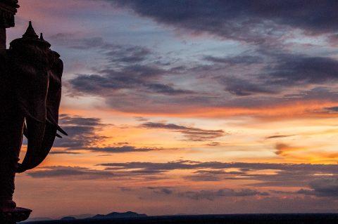 Udong pagodas at sunset
