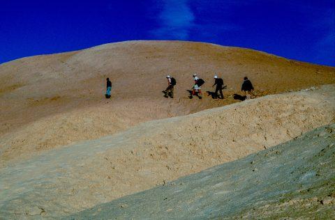 Treking from Zabriskie Point to Golden Canyon, Death Valley CA (